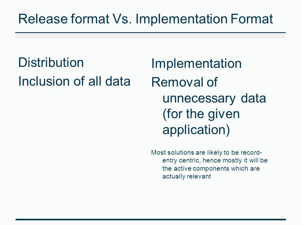 Release format Vs. Implementation Format