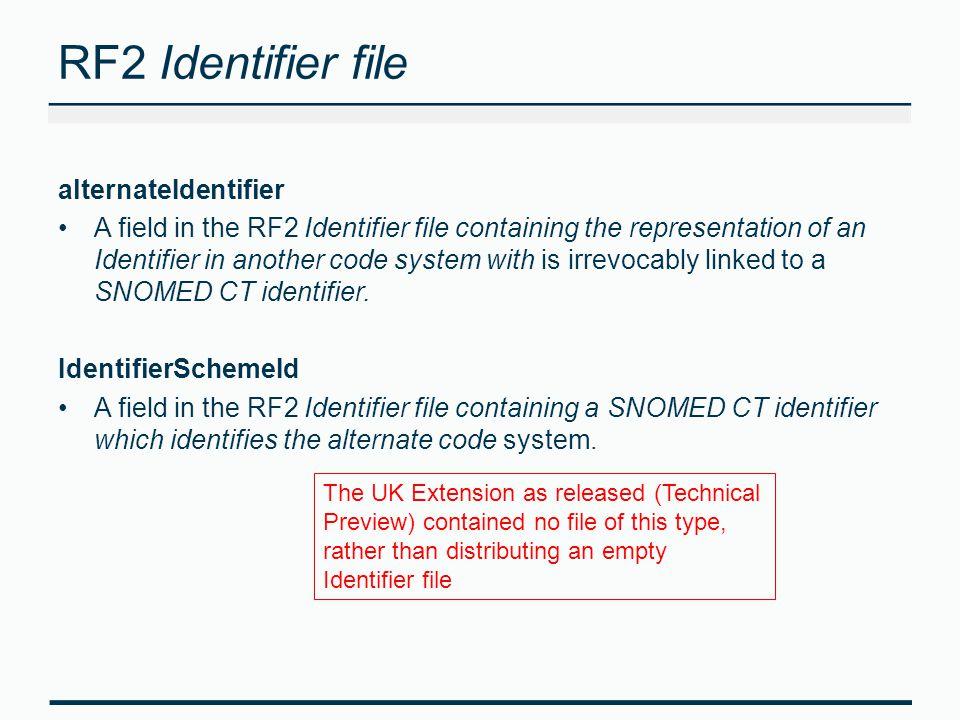 RF2 Identifier file alternateIdentifier