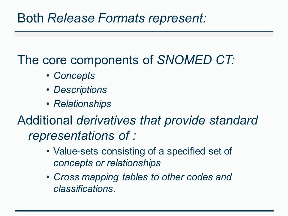 Both Release Formats represent: