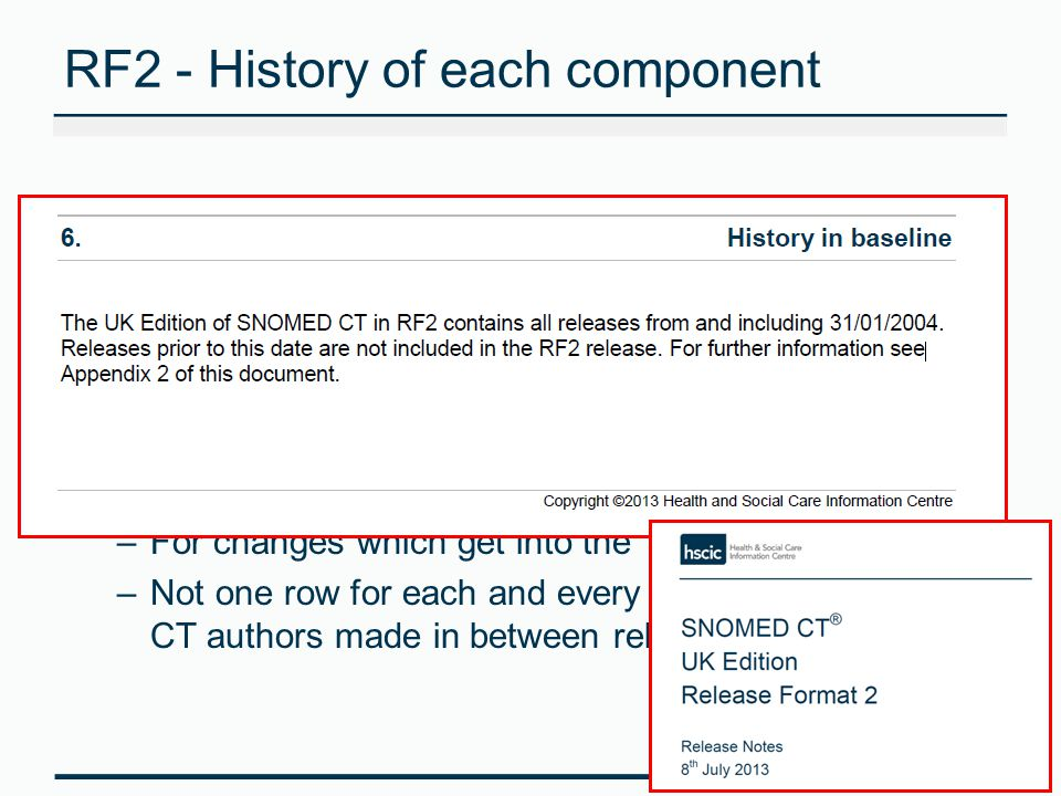 RF2 - History of each component