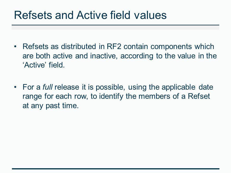 Refsets and Active field values