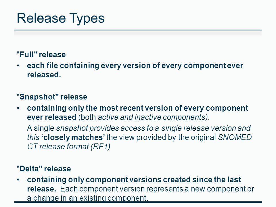 Release Types Full release