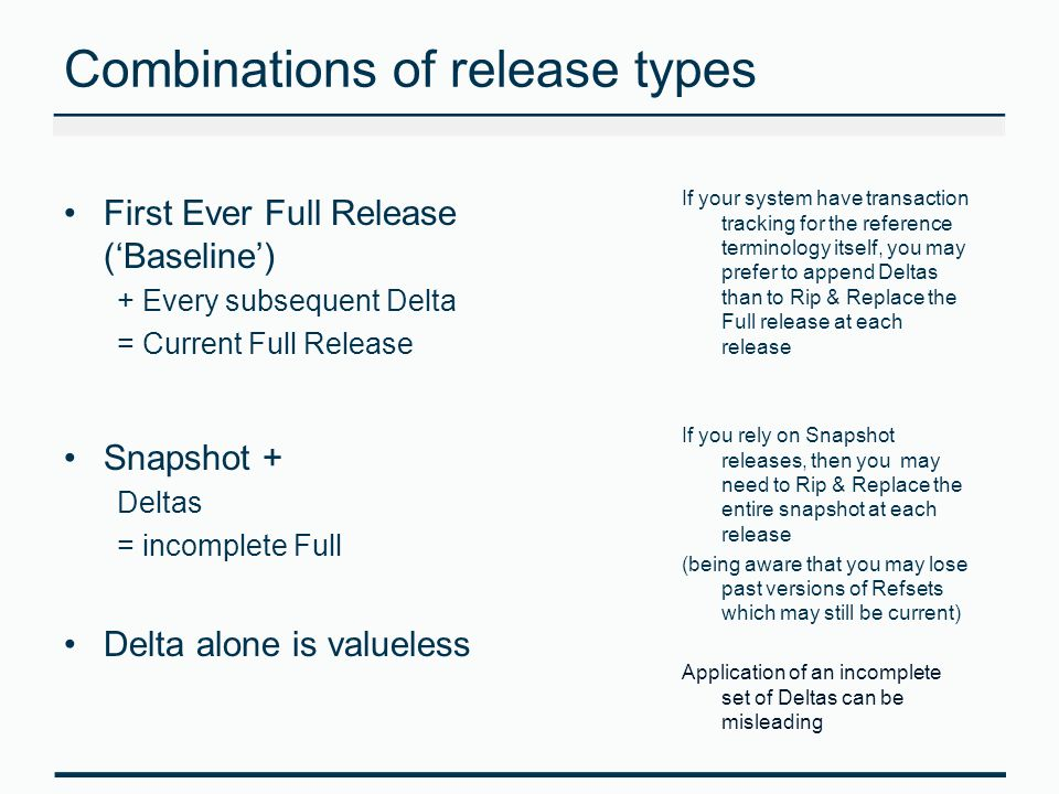 Combinations of release types