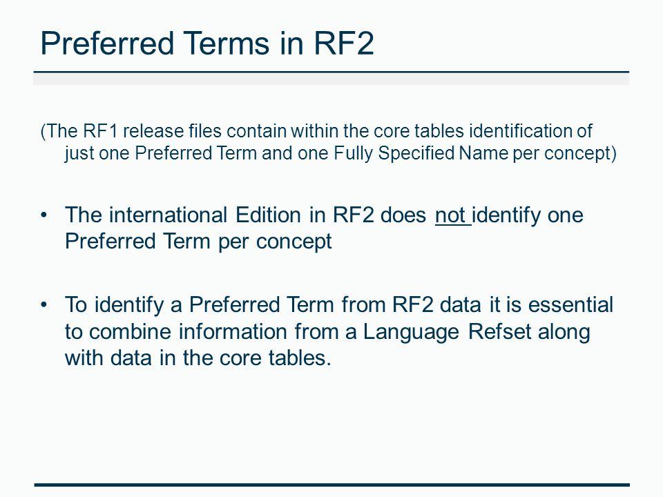 Preferred Terms in RF2