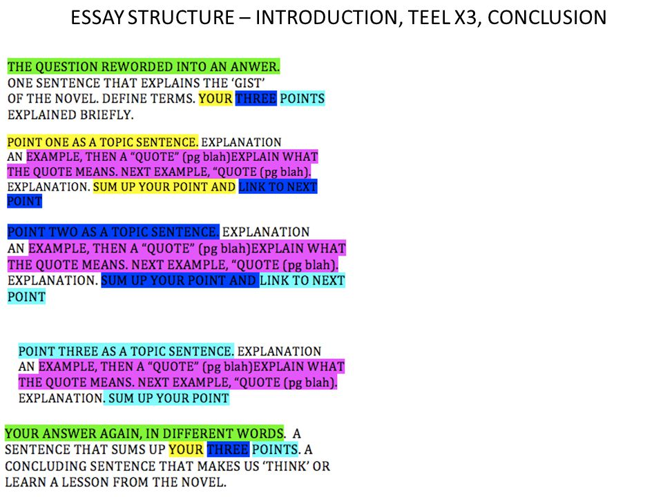 essay structure using teel Hi everyone - this resources was used to guide my year 8 students through an essay writing process the task was to write an analytical essay about the theme of a novel, using the teel format the resource has a description of the format, which is easily manipulated into a graphic organiser.