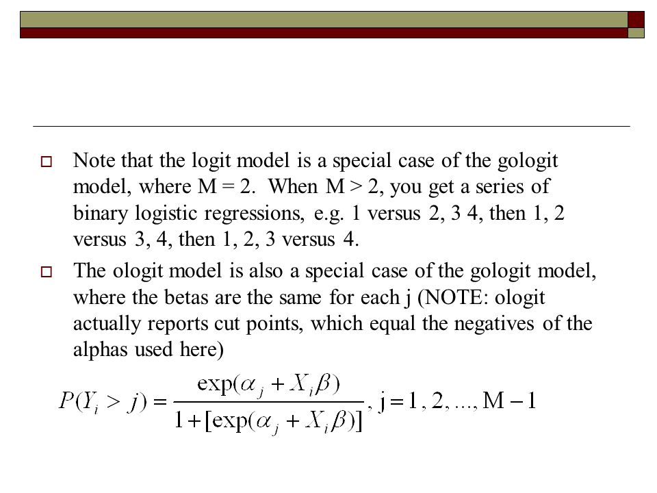 Note that the logit model is a special case of the gologit model, where M = 2. When M > 2, you get a series of binary logistic regressions, e.g. 1 versus 2, 3 4, then 1, 2 versus 3, 4, then 1, 2, 3 versus 4.