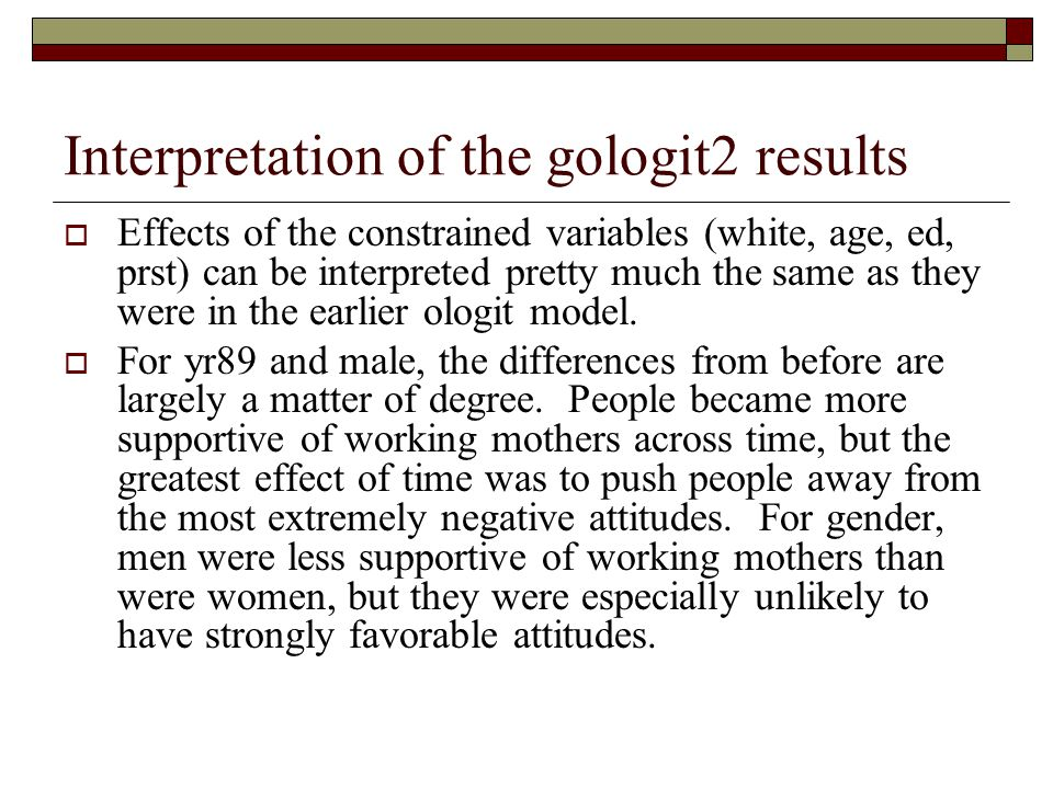 Interpretation of the gologit2 results