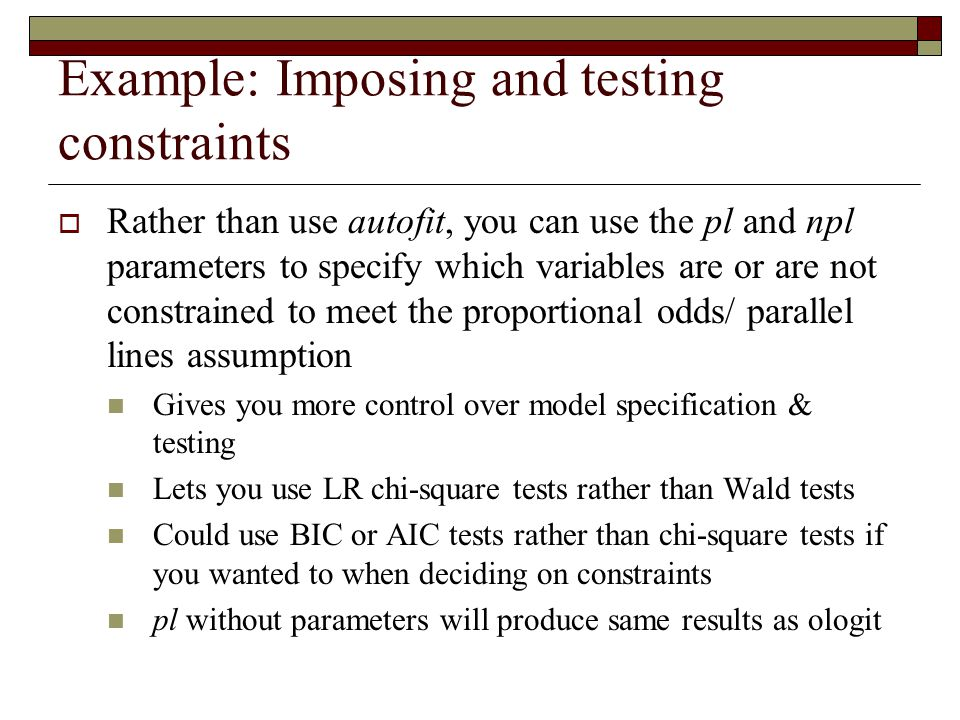 Example: Imposing and testing constraints