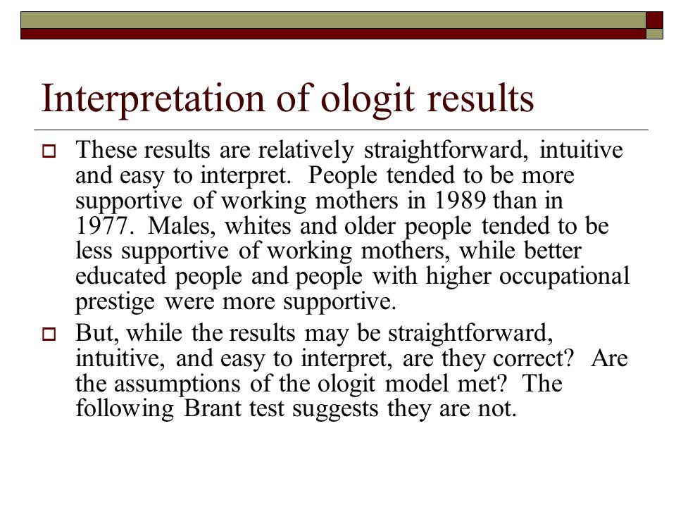 Interpretation of ologit results