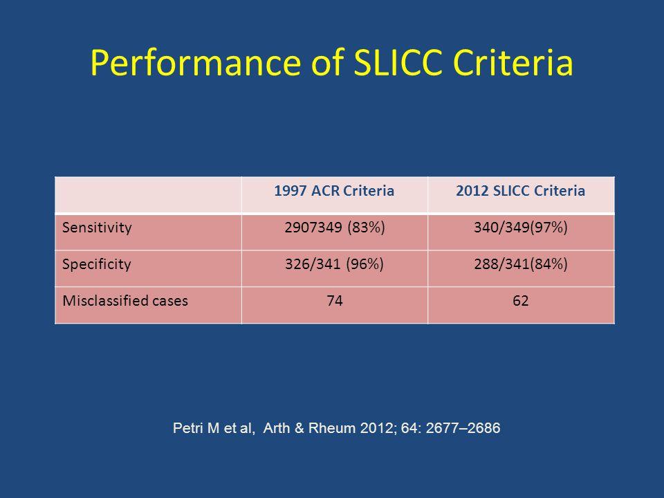 Performance of SLICC Criteria