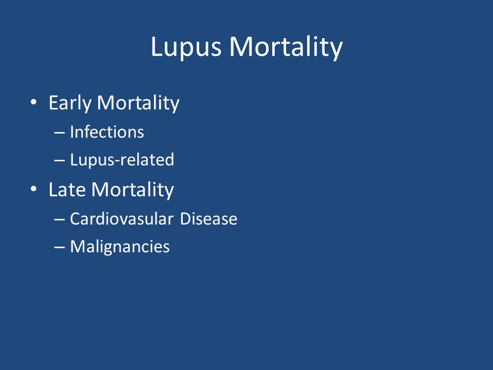 Lupus Mortality Early Mortality Late Mortality Infections