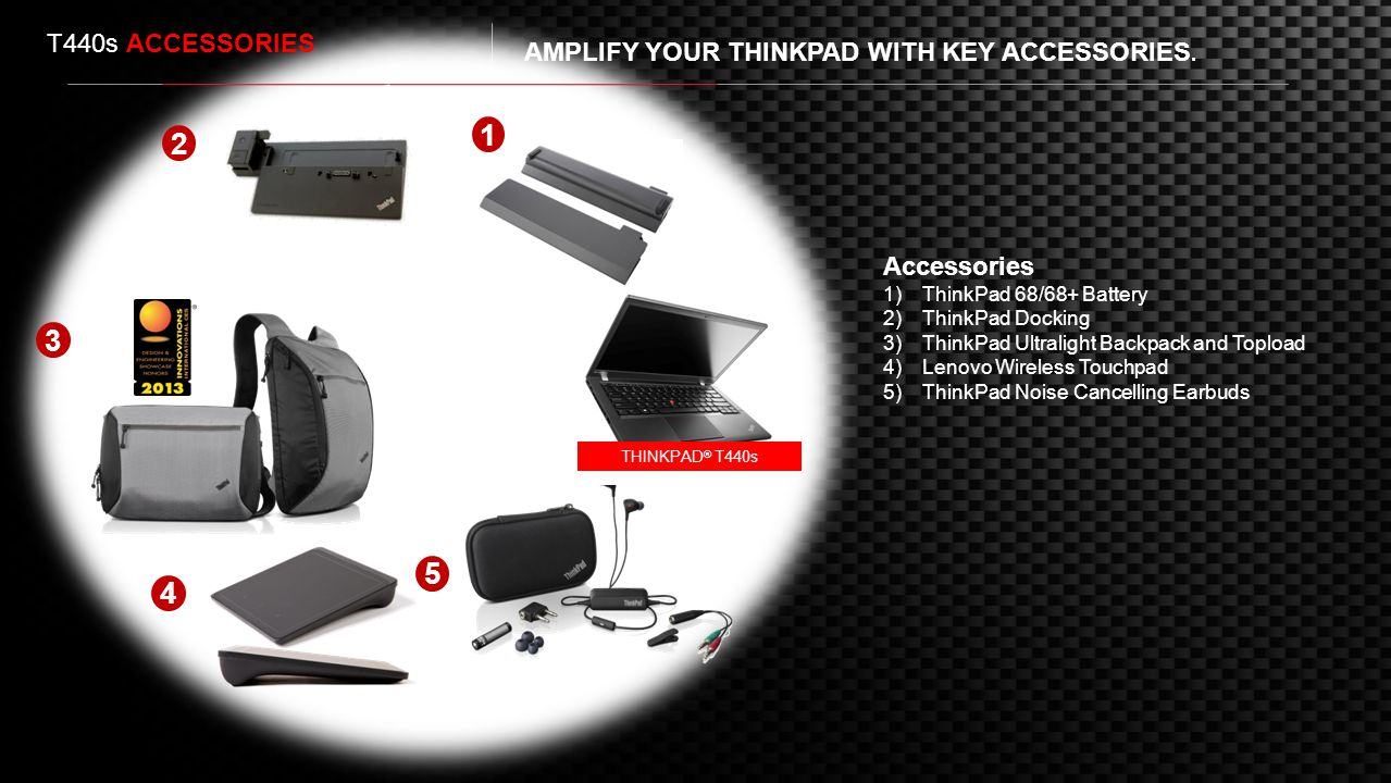 T440s ACCESSORIES AMPLIFY YOUR THINKPAD WITH KEY ACCESSORIES. 1. 2. Accessories. ThinkPad 68/68+ Battery.