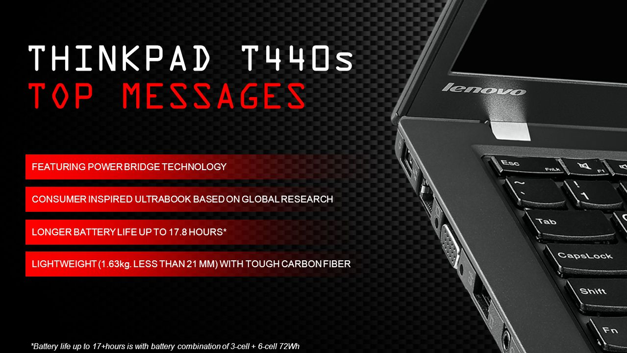 THINKPAD T440s TOP MESSAGES FEATURING POWER BRIDGE TECHNOLOGY