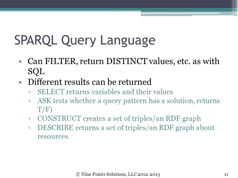 SPARQL Query Language Can FILTER, return DISTINCT values, etc. as with SQL. Different results can be returned.