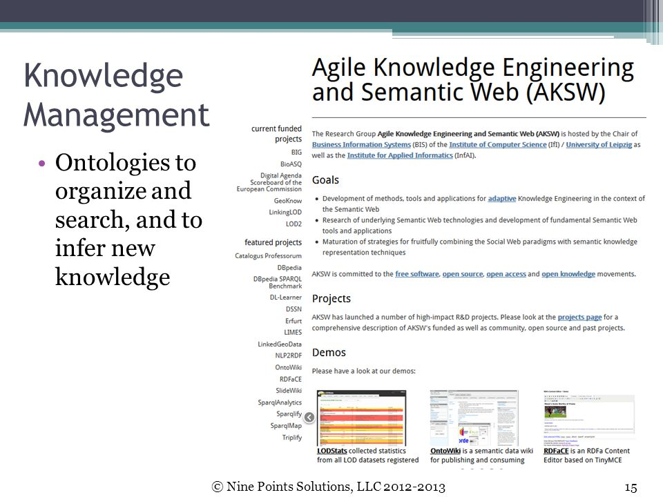 Knowledge Management Ontologies to organize and search, and to infer new knowledge.