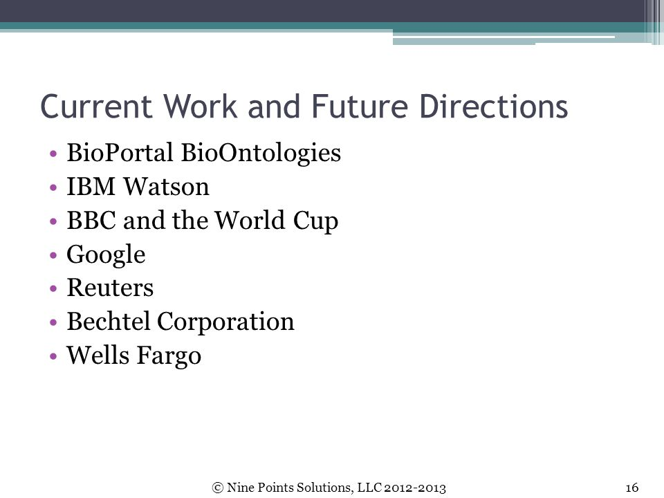 Current Work and Future Directions
