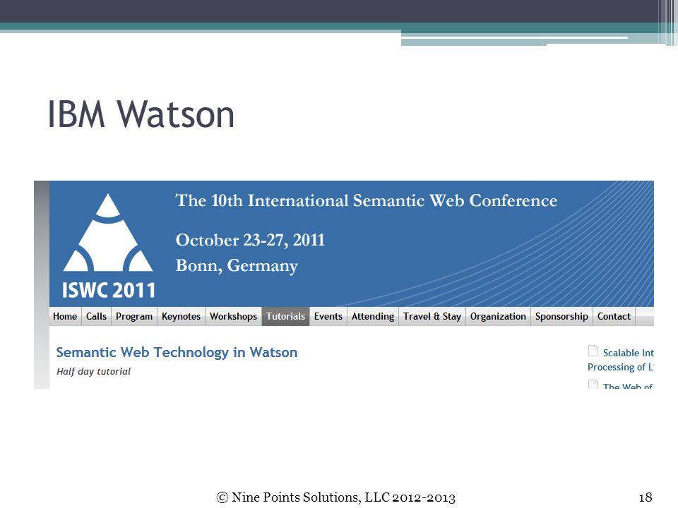 IBM Watson © Nine Points Solutions, LLC 2012-2013 18.