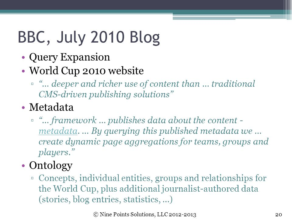 BBC, July 2010 Blog Query Expansion World Cup 2010 website Metadata