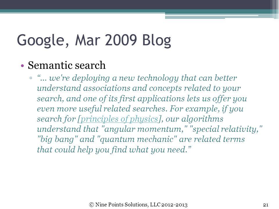 Google, Mar 2009 Blog Semantic search