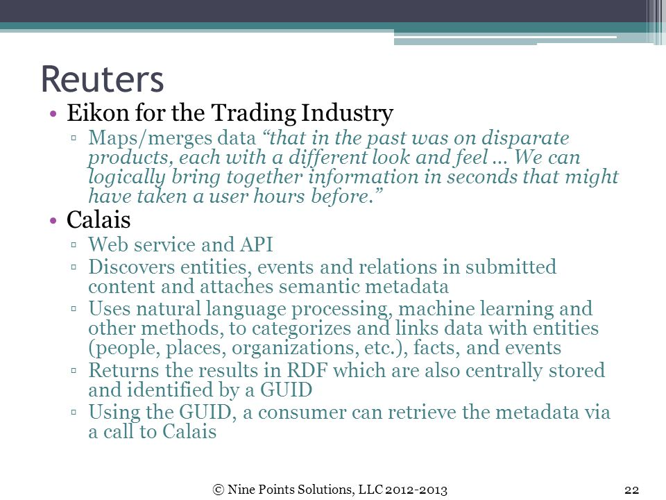 Reuters Eikon for the Trading Industry Calais