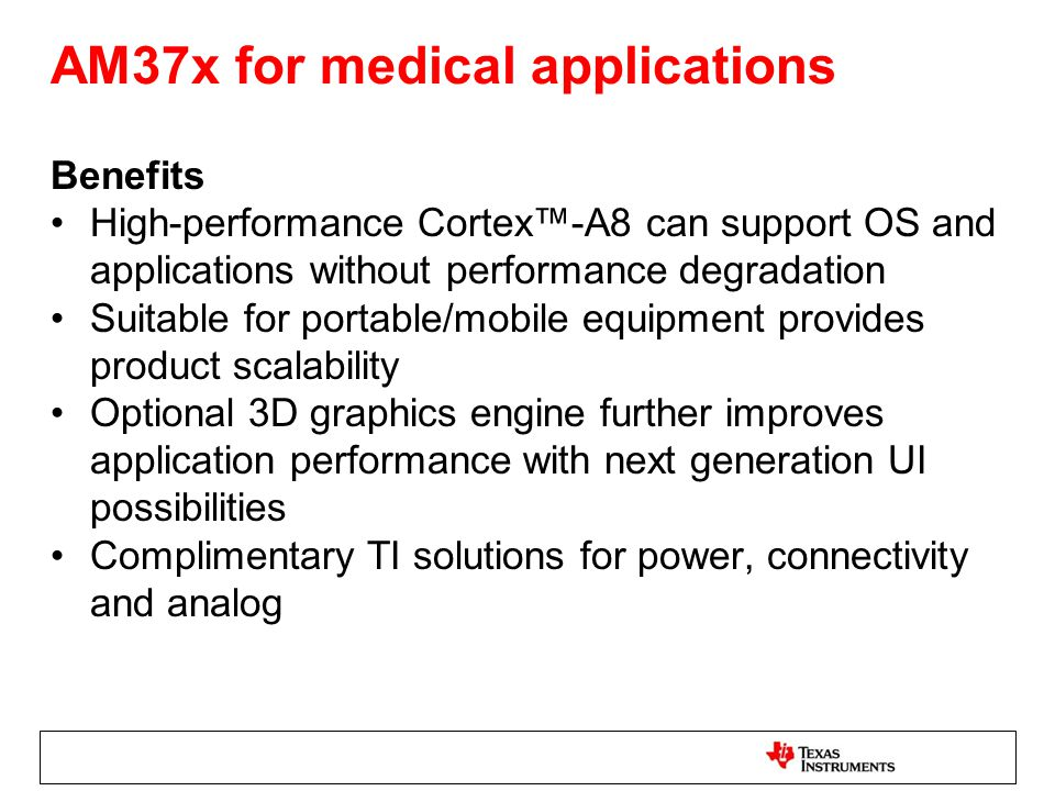 AM37x for medical applications