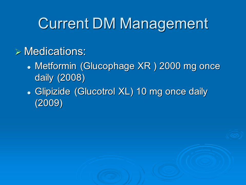 Current DM Management Medications: