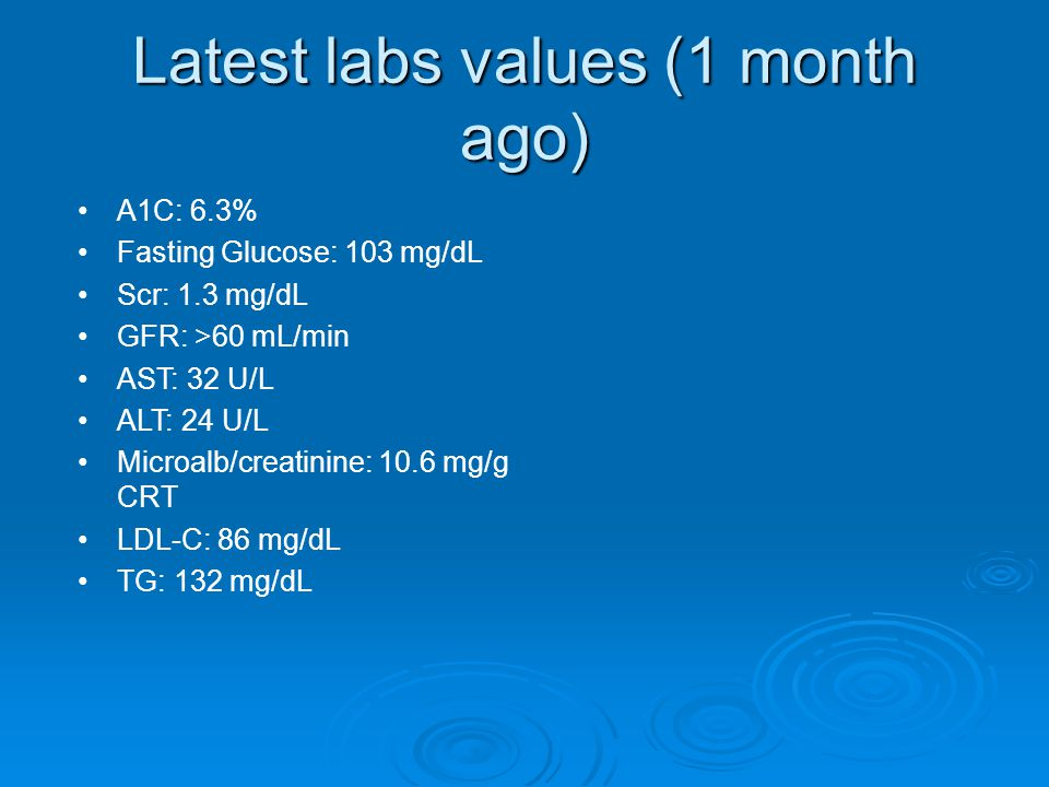 Latest labs values (1 month ago)