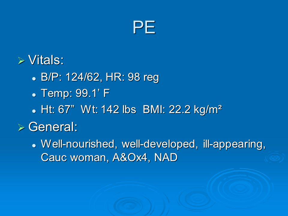 PE Vitals: General: B/P: 124/62, HR: 98 reg Temp: 99.1' F