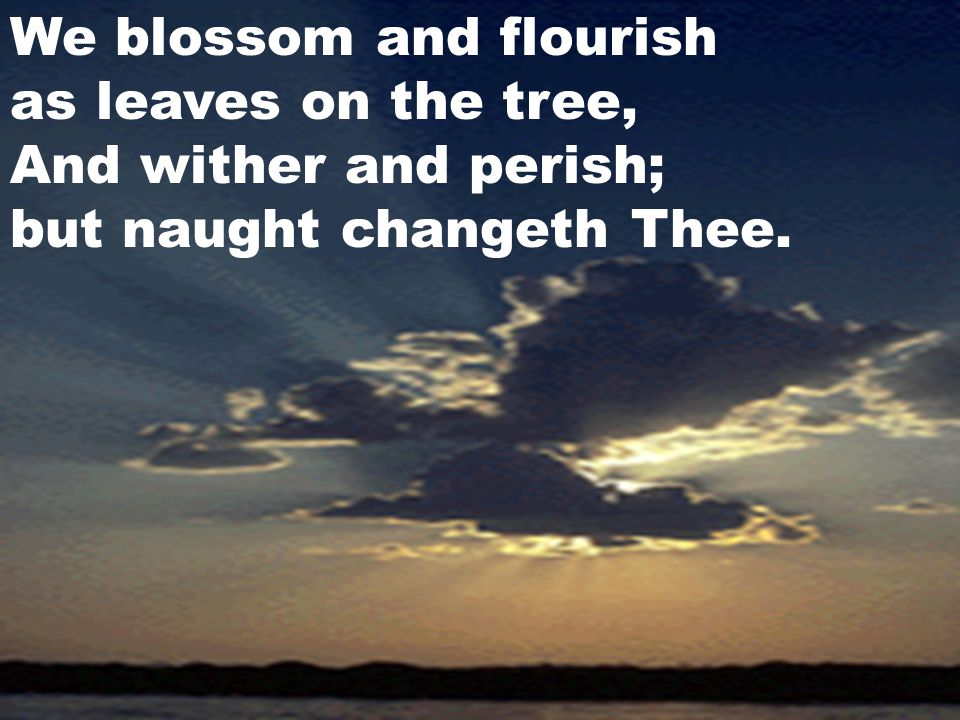 We blossom and flourish as leaves on the tree, And wither and perish; but naught changeth Thee.