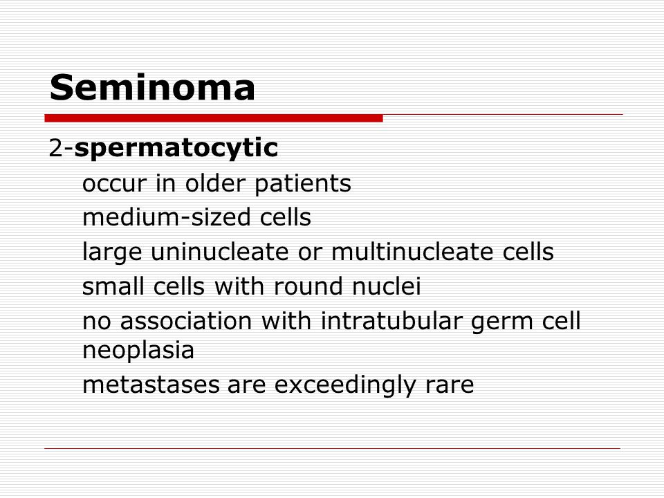 Seminoma 2-spermatocytic occur in older patients medium-sized cells