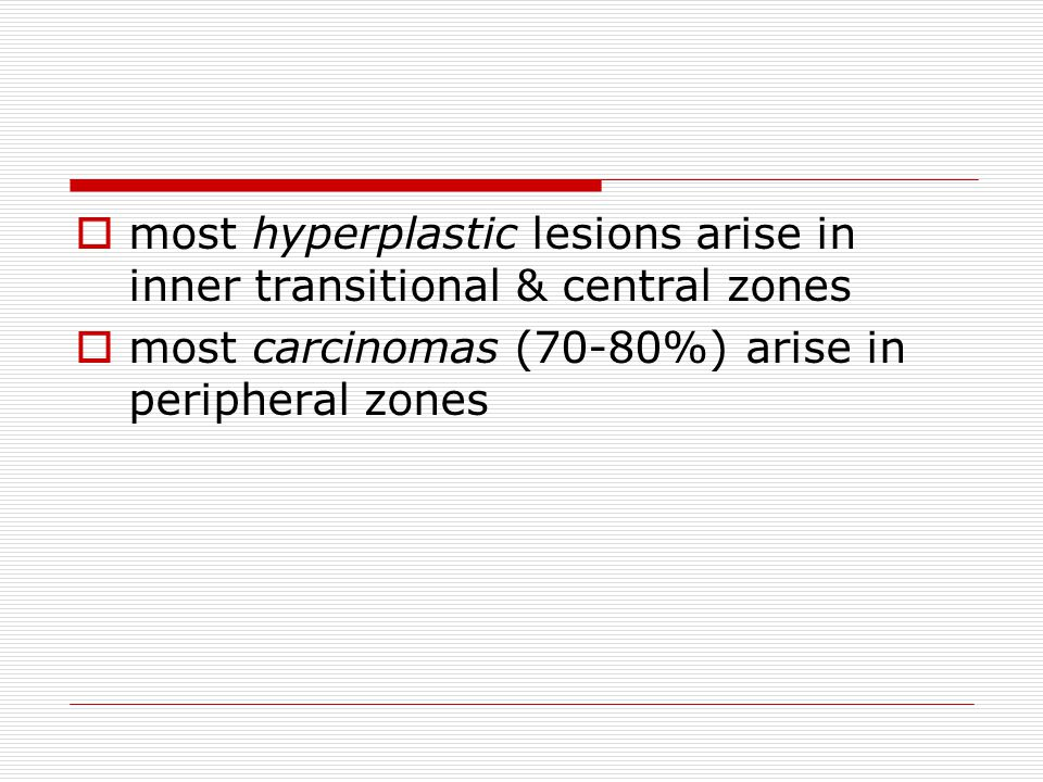 most hyperplastic lesions arise in inner transitional & central zones