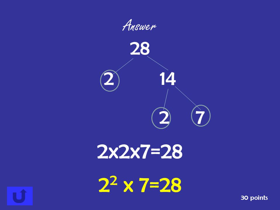 Answer 28 2 14 2 7 2x2x7=28 22 x 7=28 30 points