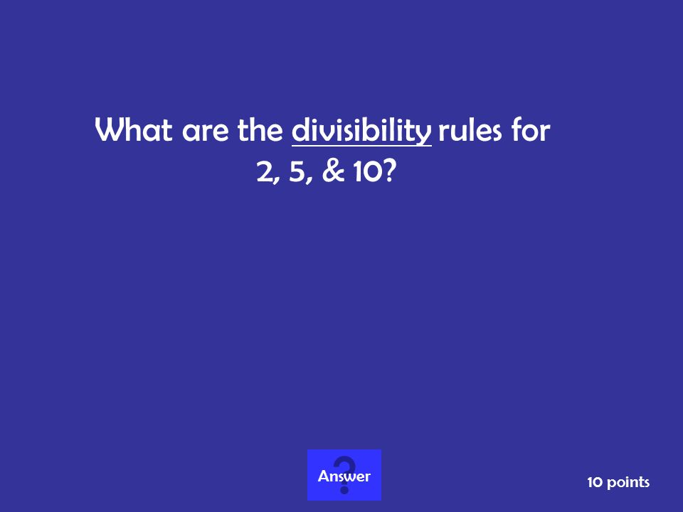 What are the divisibility rules for