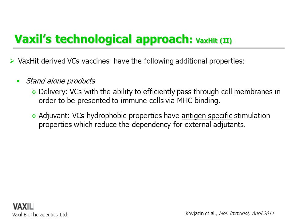 Vaxil's technological approach: VaxHit (II)