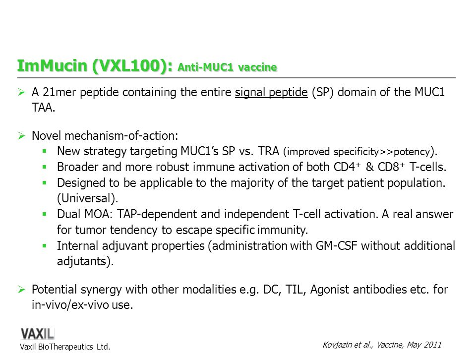 ImMucin (VXL100): Anti-MUC1 vaccine