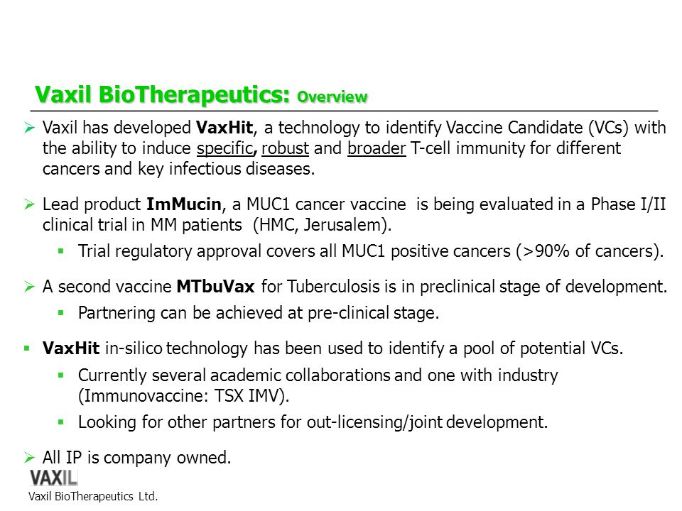 Vaxil BioTherapeutics: Overview