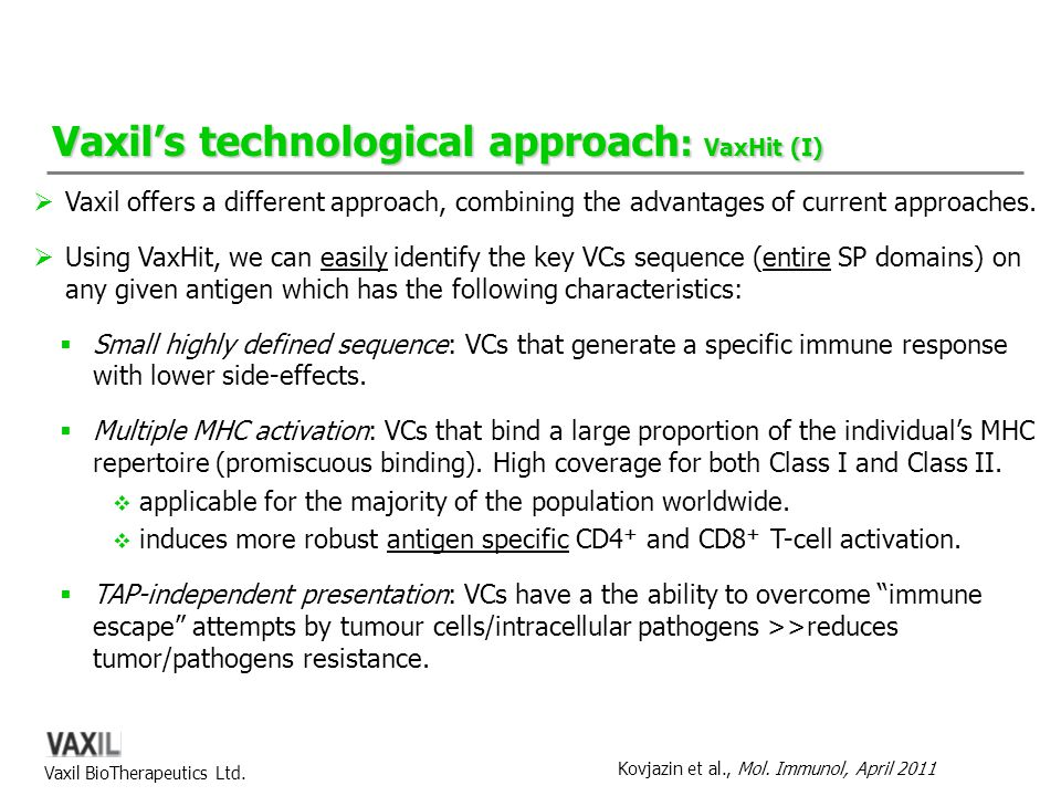 Vaxil's technological approach: VaxHit (I)