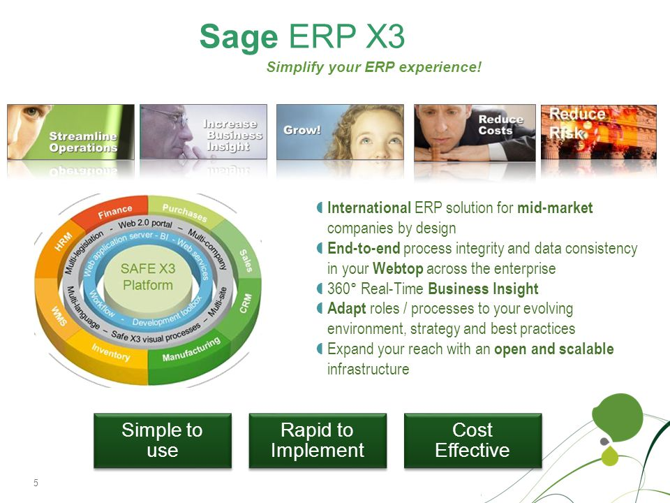 Sage ERP X3 Simple to use Rapid to Implement Cost Effective