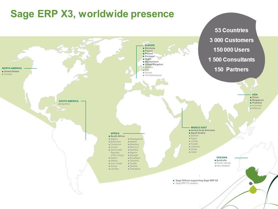 Sage ERP X3, worldwide presence