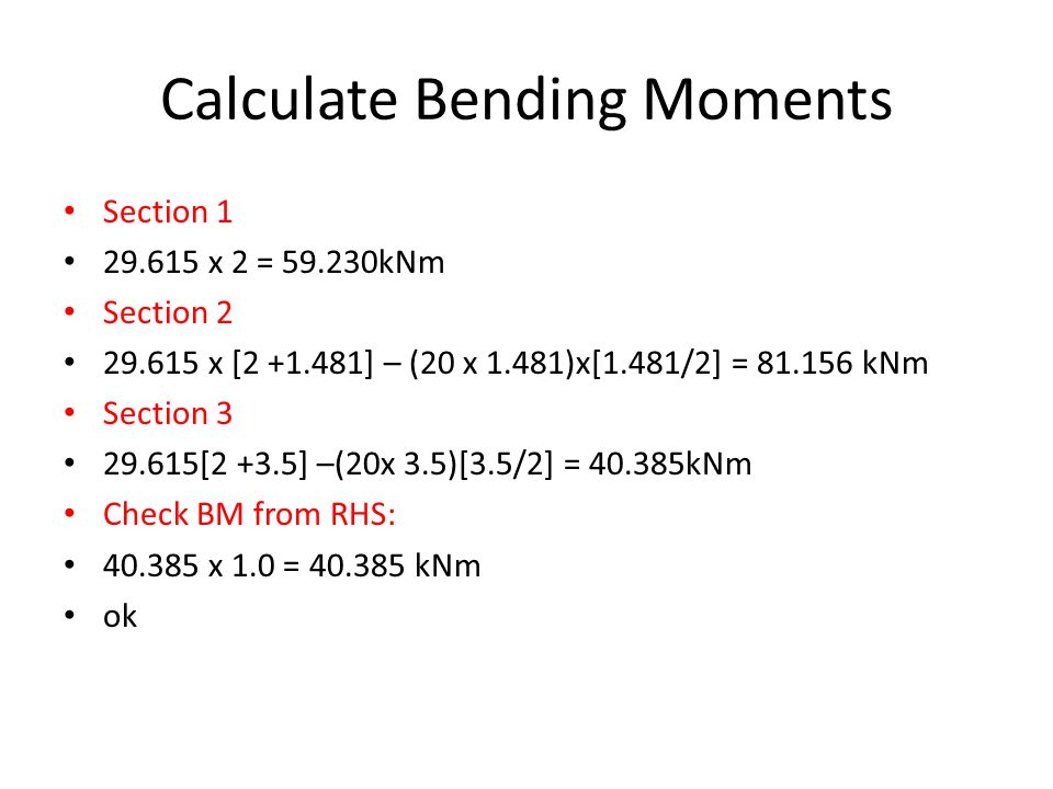 Calculate Bending Moments