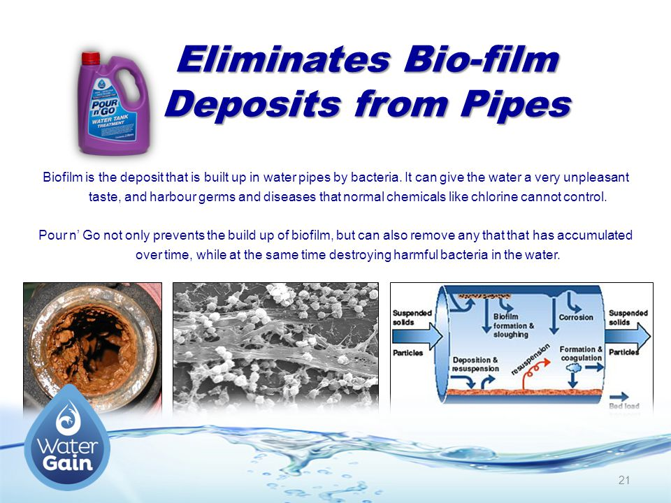 Eliminates Bio-film Deposits from Pipes