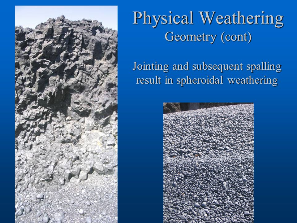 Physical Weathering Geometry (cont)