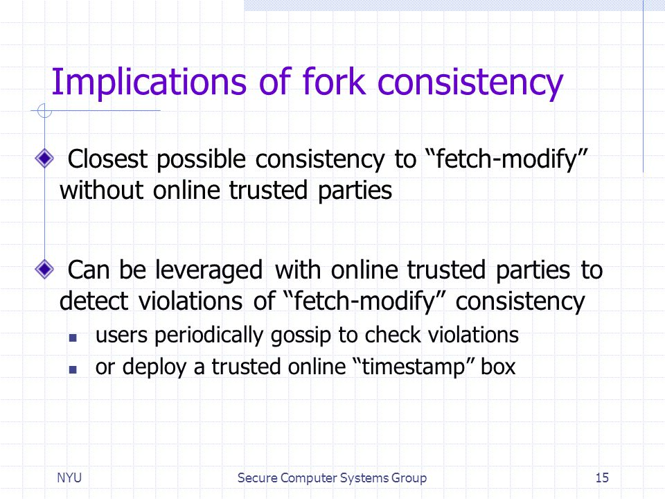 Implications of fork consistency