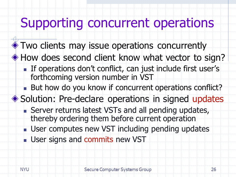 Supporting concurrent operations