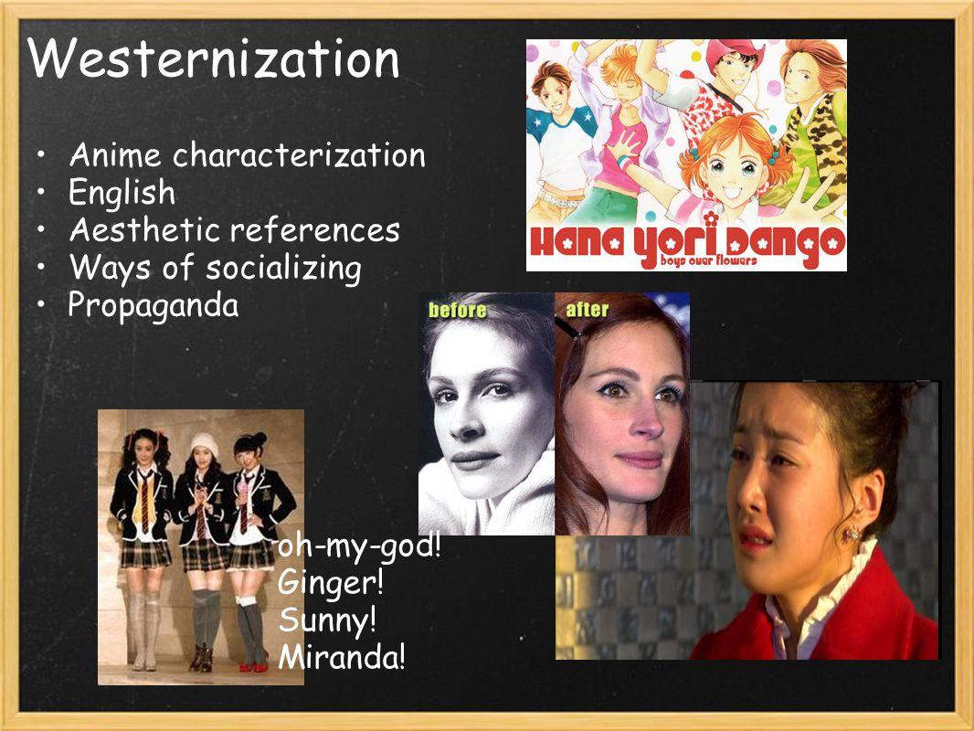 Westernization Anime characterization English Aesthetic references
