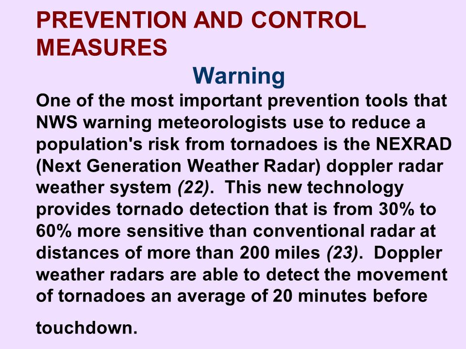PREVENTION AND CONTROL MEASURES