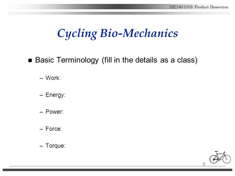 Cycling Bio-Mechanics