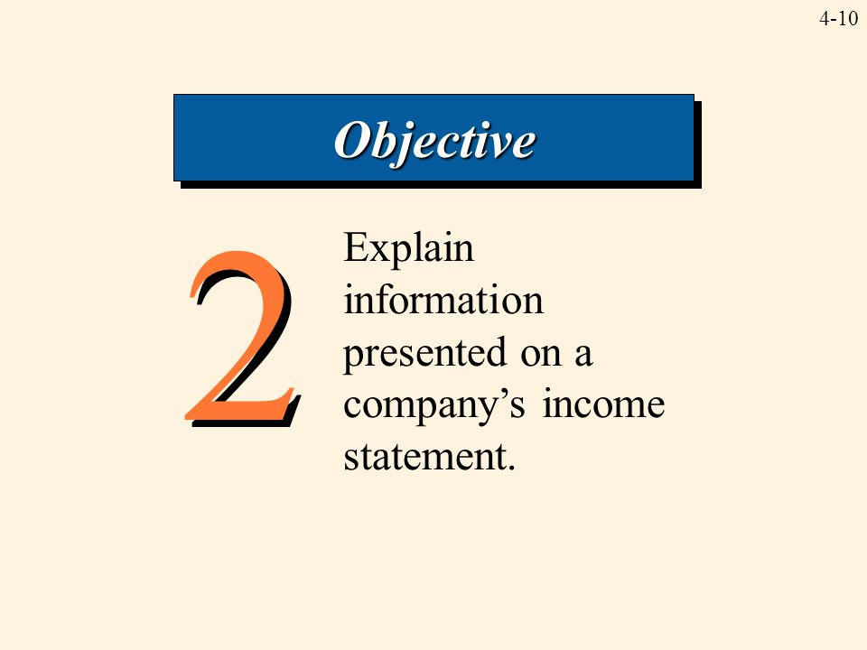 Objective 2 Explain information presented on a company's income statement.