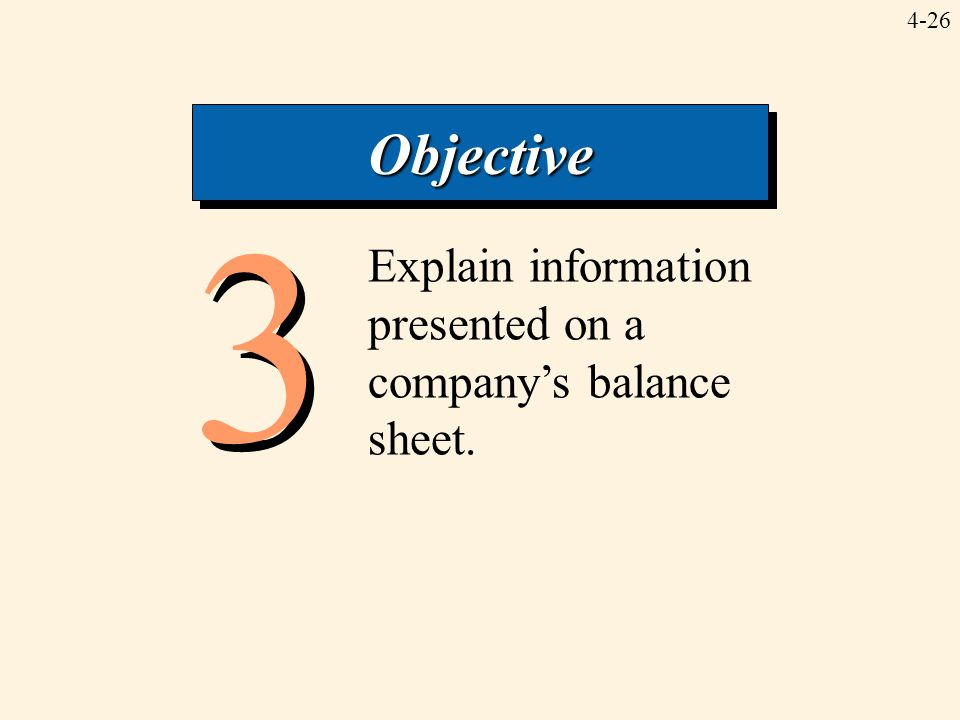 Objective 3 Explain information presented on a company's balance sheet.