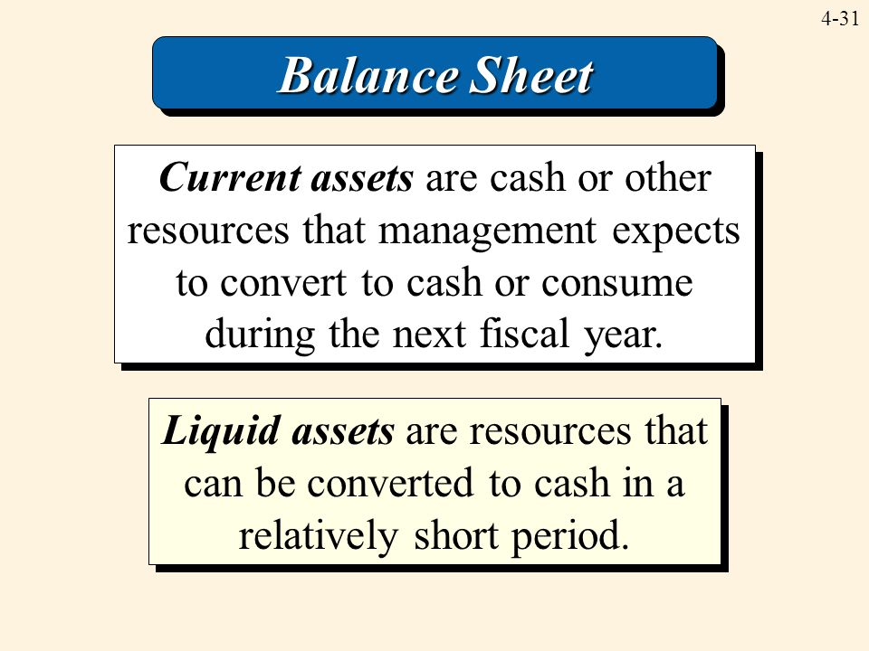 Balance Sheet Current assets are cash or other resources that management expects to convert to cash or consume during the next fiscal year.